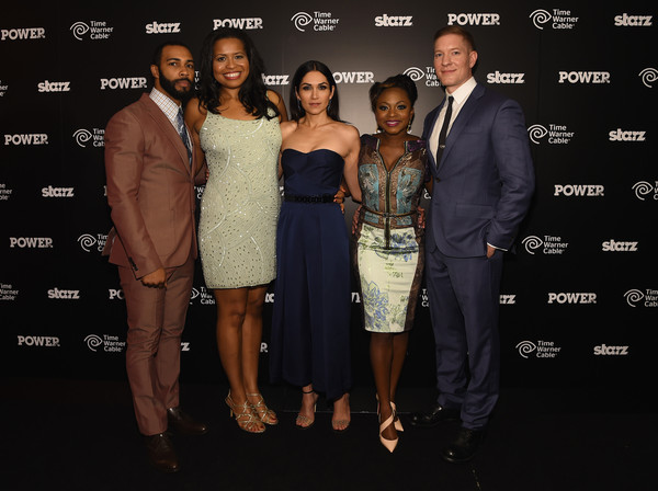 """(L-R) Omari Hardwick, Courtney Kemp Agboh, Lela Loren, Naturi Naughton , and Joseph Sikora attend the """"Power"""" season two premiere event with a special performance from 50 Cent, G-Unit and other guests on June 2, 2015 in New York City"""