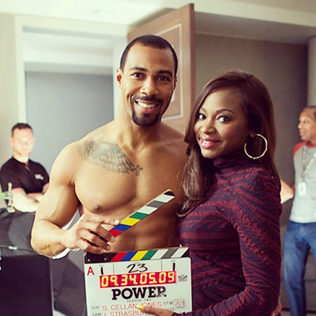 "Omari Hardwick and Naturi Naughton on the set of ""Power"" Season 2"