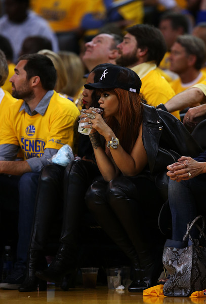 Rihanna attends Game One of the 2015 NBA Finals between the Golden State Warriors and the Cleveland Cavaliers at ORACLE Arena on June 4, 2015 in Oakland, California
