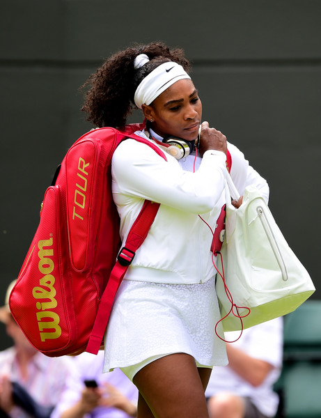 Serena Williams of the United States walks out for her Ladies's Singles first round match against Margarita Gasparyan of Russia during day one of the Wimbledon Lawn Tennis Championships at the All England Lawn Tennis and Croquet Club on June 29, 2015 in London, England