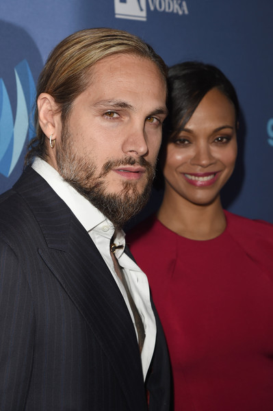 Artist Marco Perego (L) and actress Zoe Saldana attend the 26th Annual GLAAD Media Awards at The Beverly Hilton Hotel on March 21, 2015 in Beverly Hills, California