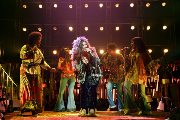 Night with Janis Joplin.Mary Bridget Davies (center) stars as iconic blues singer, Janis Joplin, in Pasadena Playhouse production. Photo: Joan Marcus.