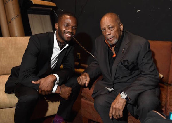 Lee England Jr., left, and Quincy Jones attend Backstage at the Geffen on Sunday, March 22, 2015, in Los Angeles. Photo credit: Jordan Strauss
