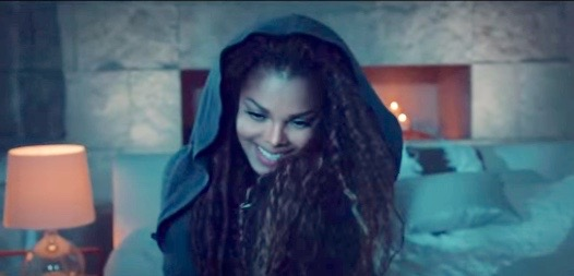 "Janet Jackson in the video for ""No Sleeep"""