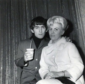 Louise Harrison here with her brother George Harrison, lead guitarist for The Beatles, during the Beatlemania era. (Photo Credit: Crawford)