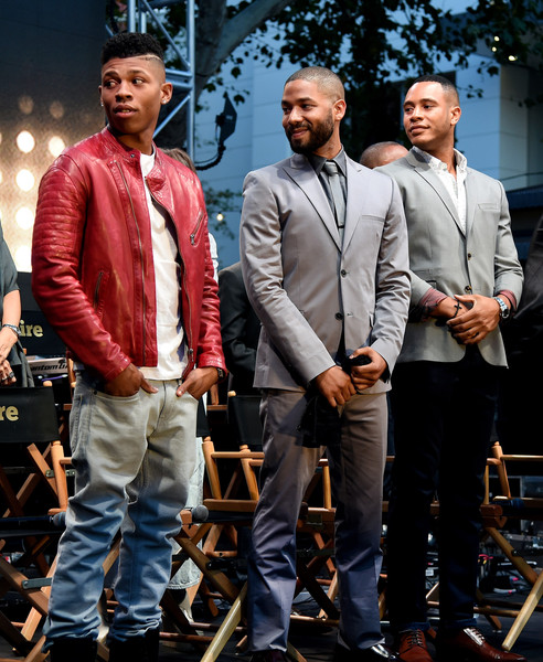 """(L-R) Actors Bryshere """"Yazz"""" Gray, Jussie Smollett and Trai Byers appear onstage at the Television Academy event for Fox Tv's """"Empire"""" - A Performance Under The Stars at The Grove on May 28, 2015 in Los Angeles, California"""