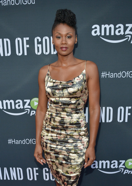 """Actress Emayatzy Corinealdi attends the Amazon premiere screening for original drama series """"Hand Of God"""" at The Theatre at Ace Hotel on August 19, 2015 in Los Angeles, California."""