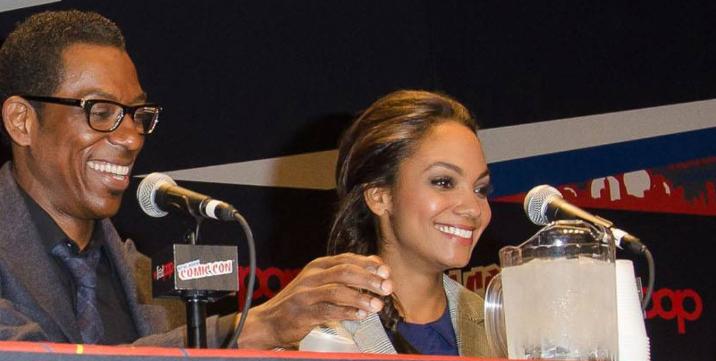 Orlando Jones and Lyndie Greenwood from SLEEPY HOLLOW on panel at New York Comic Con.