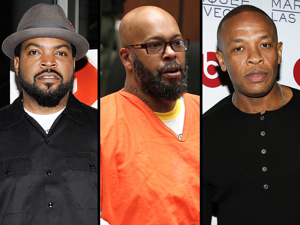 (L-R) Ice Cube, Suge Knight and Dr. Dre