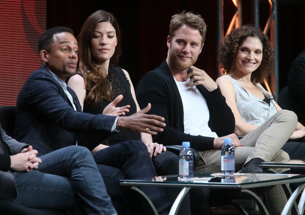 (L-R) Actors Hill Harper, Jennifer Carpenter, Jake McDorman and Mary Elizabeth Mastrantonio speak onstage during the 'Limitless' panel discussion at the CBS portion of the 2015 Summer TCA Tour at The Beverly Hilton Hotel on August 10, 2015 in Beverly Hills, California