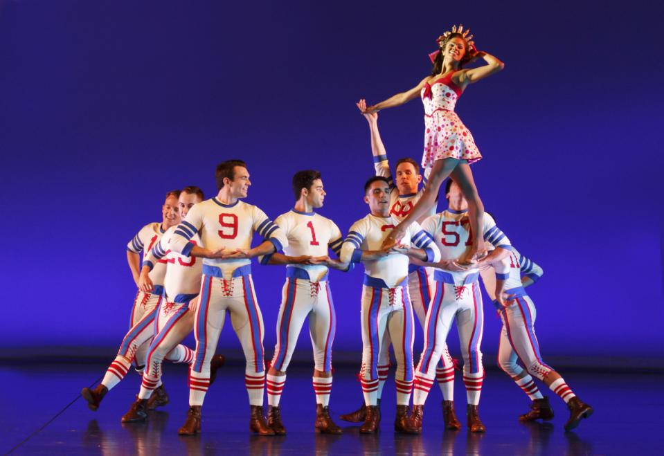 """This photo provided by Joan Marcus on Aug. 28, 2015 shows ballerina Misty Copeland in the musical """"On the Town"""" at the Lyric Theatre in New York. Until Sept. 6, 2015 Copeland will play Miss Turnstiles, a love interest for one of three sailors enjoying a few hours of shore leave in 1940s New York. (Joan Marcus via AP)"""