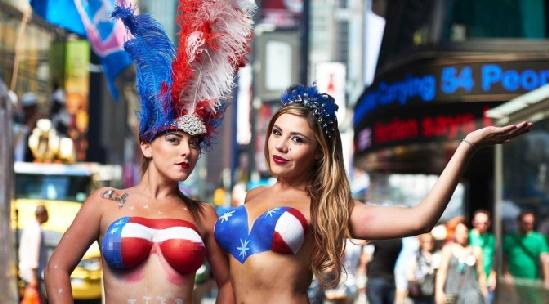 topless performers (in times square)
