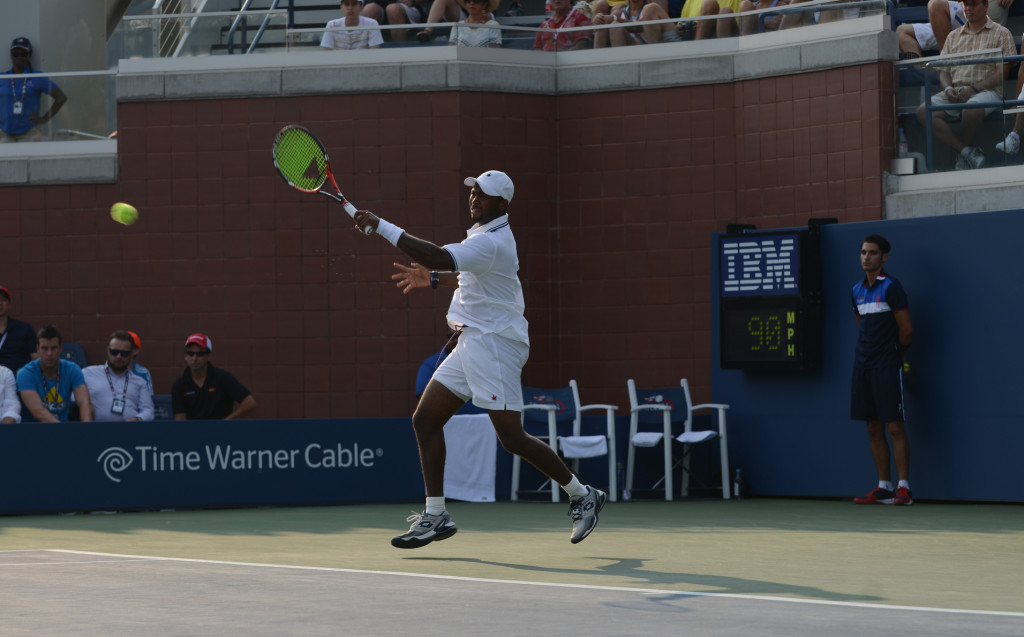 Donald Young in action on Court 17. (photo credit: Margot Jordan)