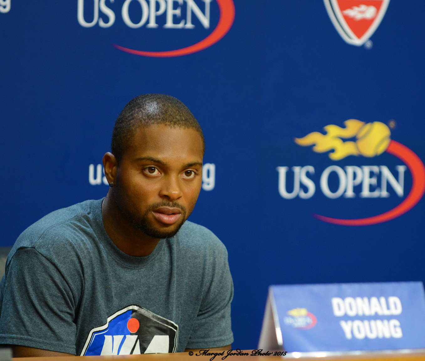 Donald Young in a post match press conference.  (photo credit: Margot Jordan)