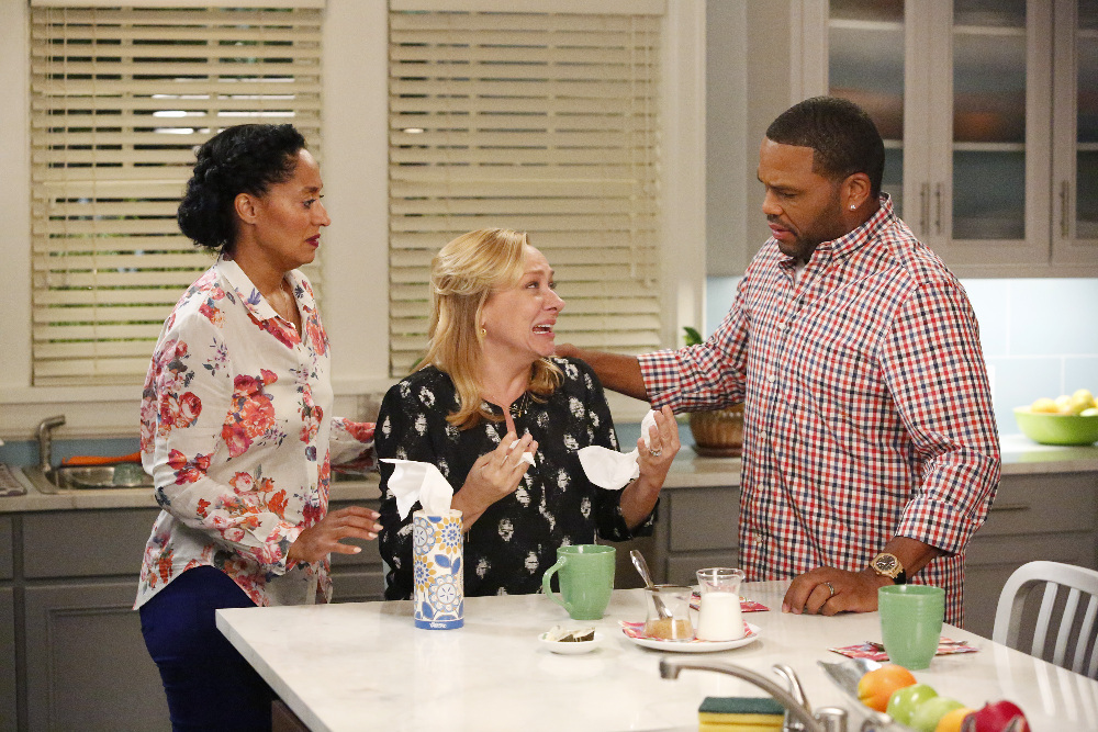 "BLACK-ISH - ""Rock, Paper, Scissors, Gun"" - After a break-in down the block, Dre talks about getting a gun, and Bow is not comfortable with the idea. Which leads everyone to debate -- there are many different ways to protect your family, but what's the ""best"" way? Jack and Diane are shocked that they have been living in the house unprotected, Junior sets off on a quest to protect the family from the real threat, cyber terrorism, and Zoey has Pops teach her the art of Karate to defend herself, on ""black-ish,"" WEDNESDAY, SEPTEMBER 30 (9:31-10:00 p.m., ET) on the ABC Television Network. (ABC/Kelsey McNeal) TRACEE ELLIS ROSS, NICOLE SULLIVAN, ANTHONY ANDERSON"