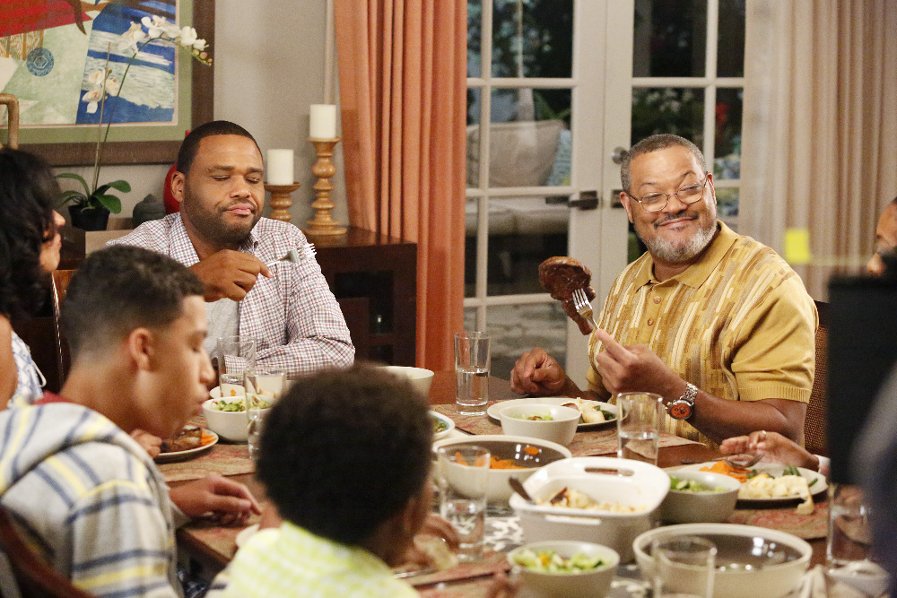 "BLACK-ISH - ""Rock, Paper, Scissors, Gun"" - After a break-in down the block, Dre talks about getting a gun, and Bow is not comfortable with the idea. Which leads everyone to debate -- there are many different ways to protect your family, but what's the ""best"" way? Jack and Diane are shocked that they have been living in the house unprotected, Junior sets off on a quest to protect the family from the real threat, cyber terrorism, and Zoey has Pops teach her the art of Karate to defend herself, on ""black-ish,"" WEDNESDAY, SEPTEMBER 30 (9:31-10:00 p.m., ET) on the ABC Television Network. (ABC/Kelsey McNeal) CLOCKWISE FROM LEFT: MARCUS SCRIBNER, ANTHONY ANDERSON, LAURENCE FISHBURNE, MILES BROWN"