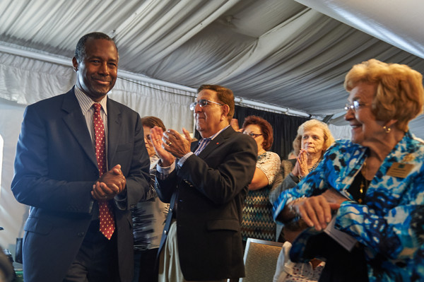 2016 Republican Presidential Nominee Dr. Ben Carson is introduced to the crowd during the Eagle Forum's Eagle Council Event at the Marriott St. Louis Airport Hotel in St. Louis, Missouri on September 11, 2015 in St. Louis, Missouri.