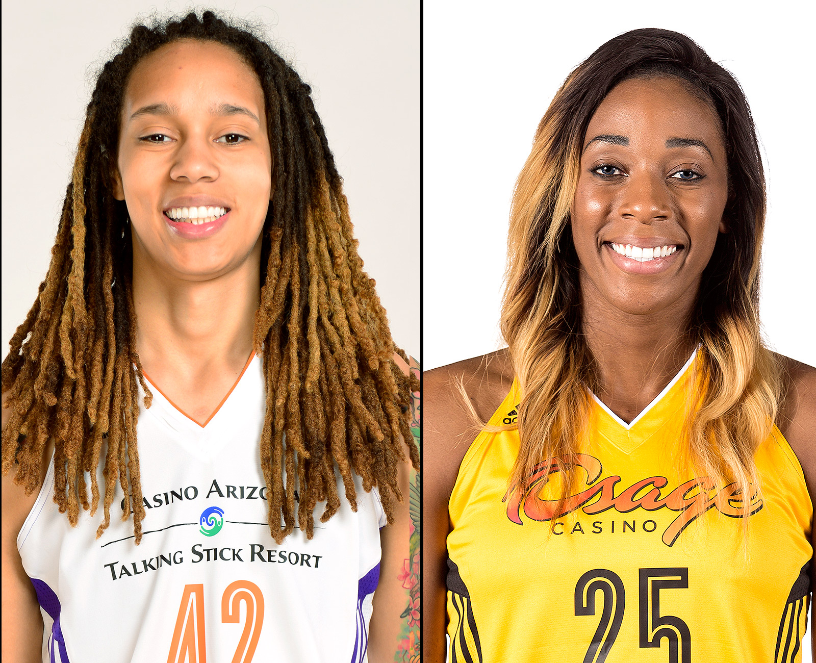 Brittney Griner (L) and Glory Johnson