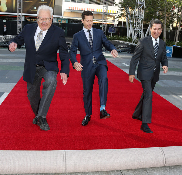 (L-R) Executive producer Don Mischer, host Andy Samberg, and Television Academy Chairman/CEO Bruce Rosenblum during the 67th Annual Primetime Emmy Awards Press Preview Day Red Carpet Rollout & Governors Ball Reveal at the Microsoft Theater on September 16, 2015 in Los Angeles, California