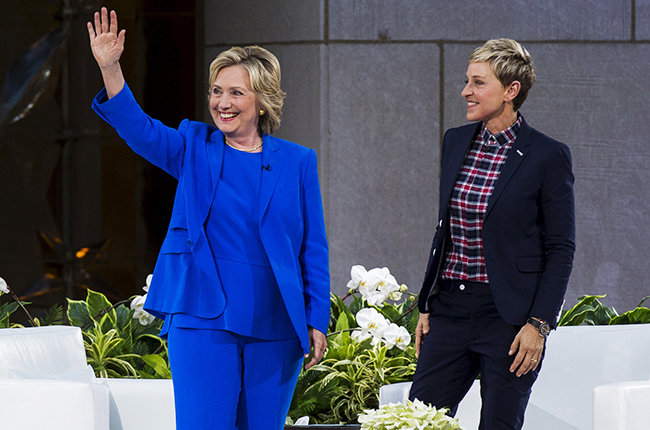 "Democratic presidential candidate Hillary Clinton stands with Ellen DeGeneres during a taping of ""The Ellen DeGeneres Show"" in New York September 8, 2015."