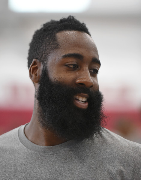 James Harden #32 of the 2015 USA Basketball Men's National Team smiles during a practice session at the Mendenhall Center on August 11, 2015 in Las Vegas, Nevada