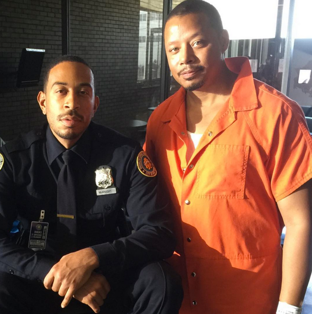 """Ludacris (L) and Terrence Howard on the set of """"Empire"""" Season 2"""