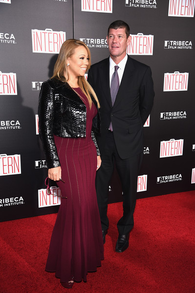 """Mariah Carey and James Packer attend """"The Intern"""" New York Premiere at Ziegfeld Theater on September 21, 2015 in New York City"""