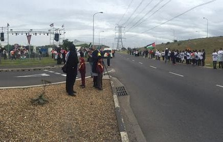 Protesters gathering outside Grand West Arena in Cape Town to protest Woolworths-organised Pharrell Williams concert.