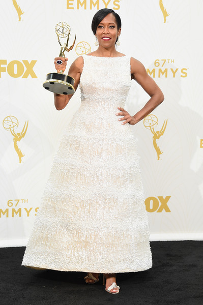"""Actress Regina King, winner of Outstanding Supporting Actress in a Limited Series or Movie for """"American Crime"""", poses in the press room at the 67th Annual Primetime Emmy Awards at Microsoft Theater on September 20, 2015 in Los Angeles, California"""