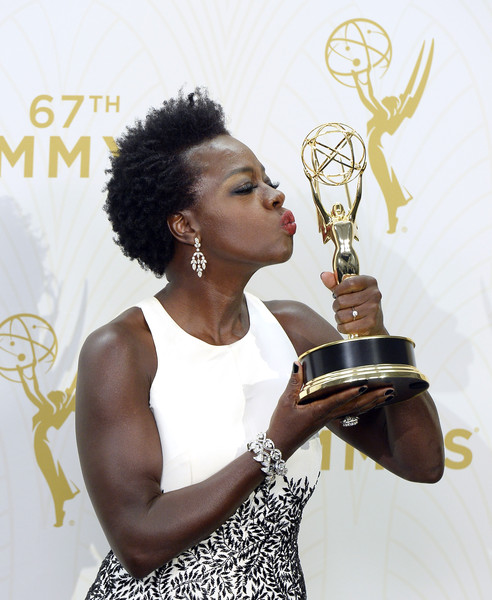 """Actress Viola Davis, winner of Outstanding Lead Actress in a Drama Series for """"How to Get Away With Murder,"""" poses in the press room at the 67th Annual Primetime Emmy Awards at Microsoft Theater on September 20, 2015 in Los Angeles, California"""
