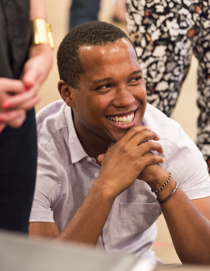 """Branden Jacobs-Jenkins at the first rehearsal for Jacobs-Jenkins' """"Appropriate."""" Directed by Eric Ting, """"Appropriate"""" plays September 23 – November 1, 2015, at the Center Theatre Group/Mark Taper Forum. For tickets and information, please visit CenterTheatreGroup.org or call (213) 628-2772.   Contact:  CTG Media and Communications/ (213) 972-7376/CTGMedia@ctgla.org Photo by Craig Schwartz"""