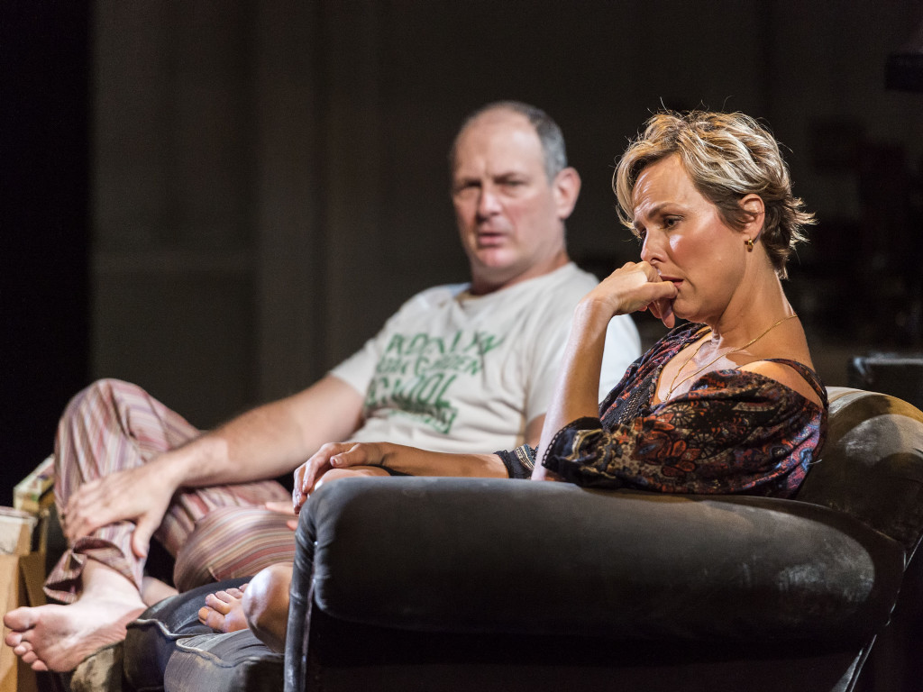 """David Bishins and Melora Hardin in Branden Jacobs-Jenkins' """"Appropriate."""" Directed by Eric Ting, """"Appropriate"""" plays September 23 – November 1, 2015, at the Center Theatre Group/Mark Taper Forum. For tickets and information, please visit CenterTheatreGroup.org or call (213) 628-2772.   Contact:  CTG Media and Communications/(213) 972-7376/CTGMedia@ctgla.org Photo by Craig Schwartz"""