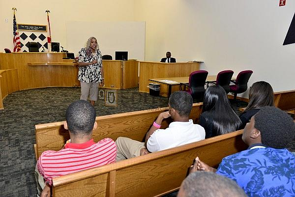 Deborah 'Debbie' King speaks at Miami-Dade County Teen Court for National Recovery Month and National Substance Abuse Prevention Month sharing her story victory and recovery. Credit: Johnny Louis