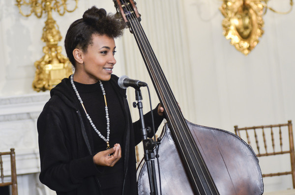 "Performer Esperanza Spalding speaks during the ""A Celebration Of Song: In Performance At The White House Student Workshop"" event at the White House on October 14, 2015 in Washington, DC"