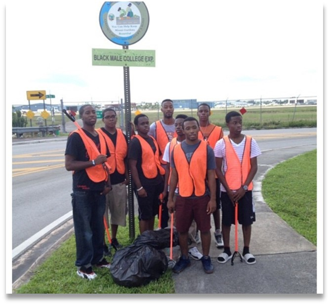 FMU Black College Male Explorers pose during a community service commitment.
