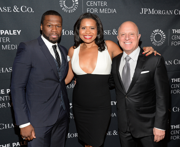 """(L-R): Curtis """"50 Cent"""" Jackson, Courtney Kemp Agboh and Chris Albrecht at The Paley Center for Media's Hollywood Tribute to African-American Achievements in Television, Photo credit: The Paley Center for Media"""