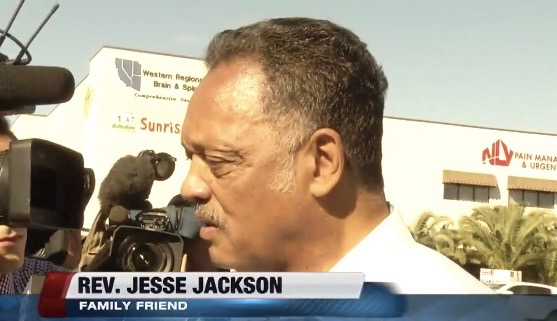 Jesse Jackson discusses Lamar Odom outside Las Vegas hospital - Oct. 14, 2015