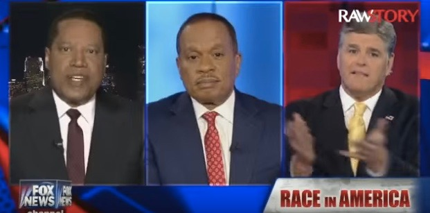 "(L-R) Larry Elder, Juan Williams and Sean Hannity on ""Hannity"""