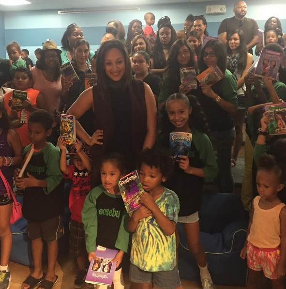 "Tamera Mowry Housely, at the Inglewood Public Library for ""Goosebumps"" reading corner."