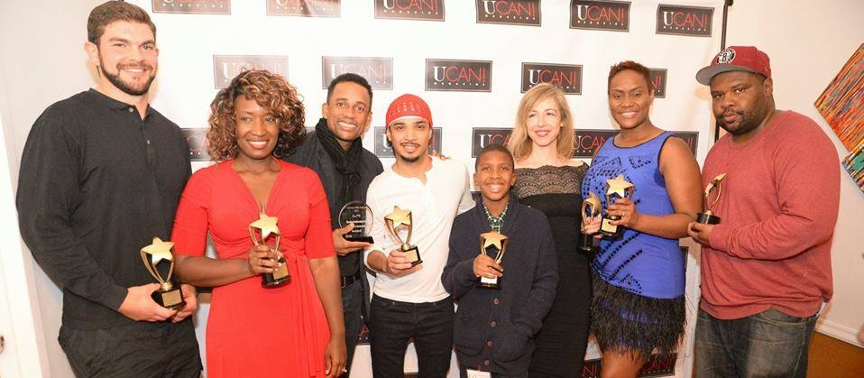 Ten year-old Anthony Michael Hobbs (center) with other filmmaking winners at the 2015 Ocktober Film Festival with NAACP Image Award winner Hill Harper. (Photo Credit: Jeff Smith)