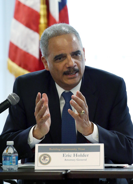 U.S. Attorney General Eric Holder speaks during a Building Community Trust roundtable meeting on February 5, 2015 in Oakland, California.