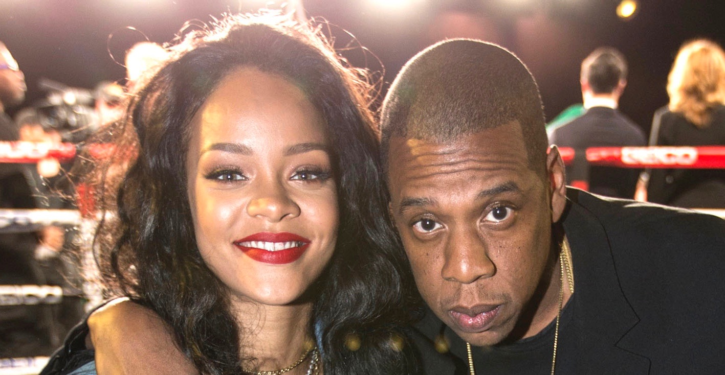 New York, NY - January 9th: ROC Nation Sports presents throneBoxing at the Theater at Madison Square Garden. JAY-Z poses with Rihanna as he sits ringside for the card. January 9th, 2015. (Photo by Anthony J. Causi)