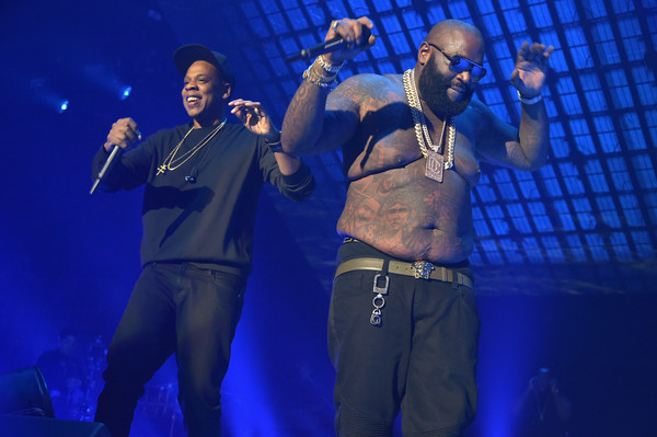 Rappers Jay-Z (L) and Rick Ross perform onstage during TIDAL X: 1020 Amplified by HTC at Barclays Center of Brooklyn on October 20, 2015 in New York City.
