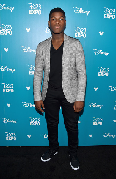 "Actor John Boyega of STAR WARS: THE FORCE AWAKENS took part today in ""Worlds, Galaxies, and Universes: Live Action at The Walt Disney Studios"" presentation at Disney's D23 EXPO 2015 in Anaheim, Calif"