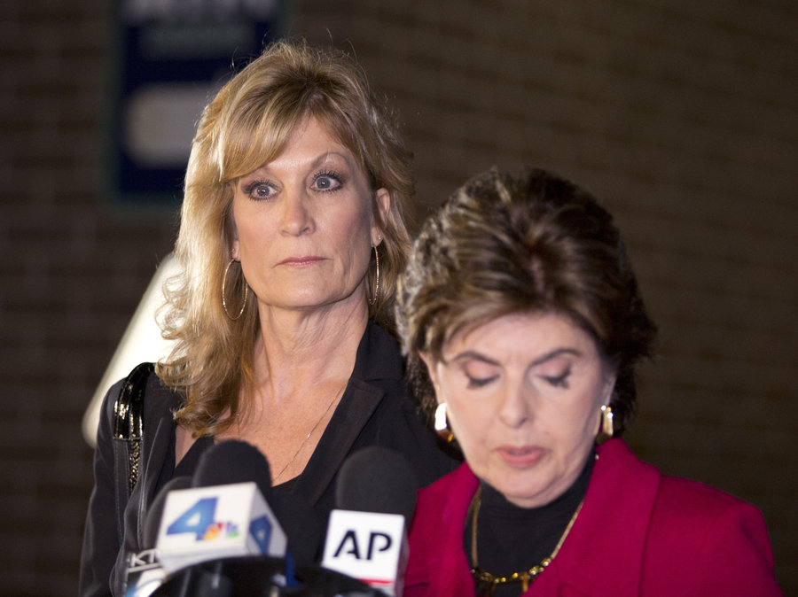 Judy Huth, left, appears at a news conference with attorney Gloria Allred outside the Los Angeles Police Department's Wilshire Division station