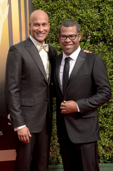 Comedy duo Keegan-Michael Key (L) and Jordan Peele attend the 2015 Creative Arts Emmy Awards at Microsoft Theater on September 12, 2015 in Los Angeles, California