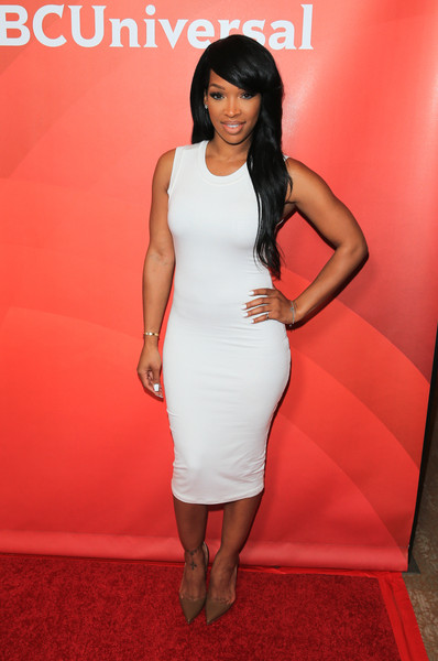 Malika Haqq arrives at the NBCUniversal 2015 Summer Press Tour at the Beverly Hilton on August 12, 2015 in Beverly Hills, California