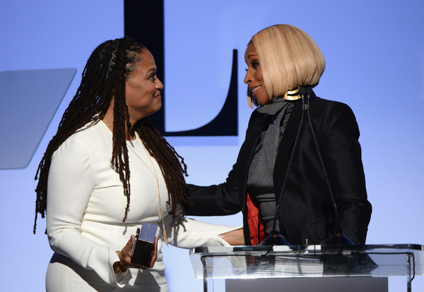 Honoree Ava DuVernay (L) and Mary J. Blige speak onstage during the 22nd Annual ELLE Women in Hollywood Awards at Four Seasons Hotel Los Angeles at Beverly Hills on October 19, 2015 in Los Angeles, California