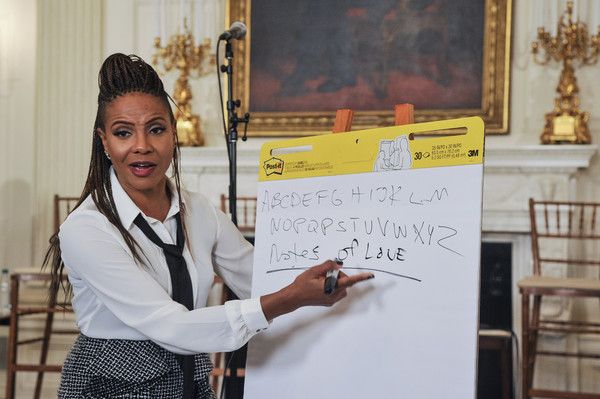 "Singer MC Lyte speaks during the ""A Celebration Of Song: In Performance At The White House Student Workshop"" event at the White House on October 14, 2015 in Washington, DC."