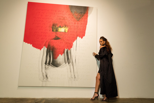 "Singer Rihanna at Rihanna's 8th album artwork reveal for ""ANTI"" at MAMA Gallery on October 7, 2015 in Los Angeles, California"